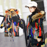 Kids Winter Jacket Goose Feather for Girls Boys 30 Thicken Warmly Down Coat Fashion Print with Real Fur Collar Children Parkas