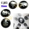 4pcs Car Motorcycle 55mm 3D Punisher Skull Universal Steering Wheel Center Hub Cap Emblem Badge Stickers 0009
