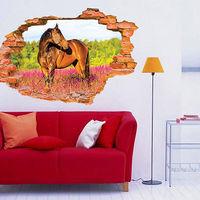 3D Broken Wall Pattern Wall Stickers Horse Wall Decals Vinyl Stickers Room Decor