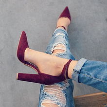 2017 spring new women shoes basic style retro fashion high heels pointed toe office & career shallow footwear women pumps