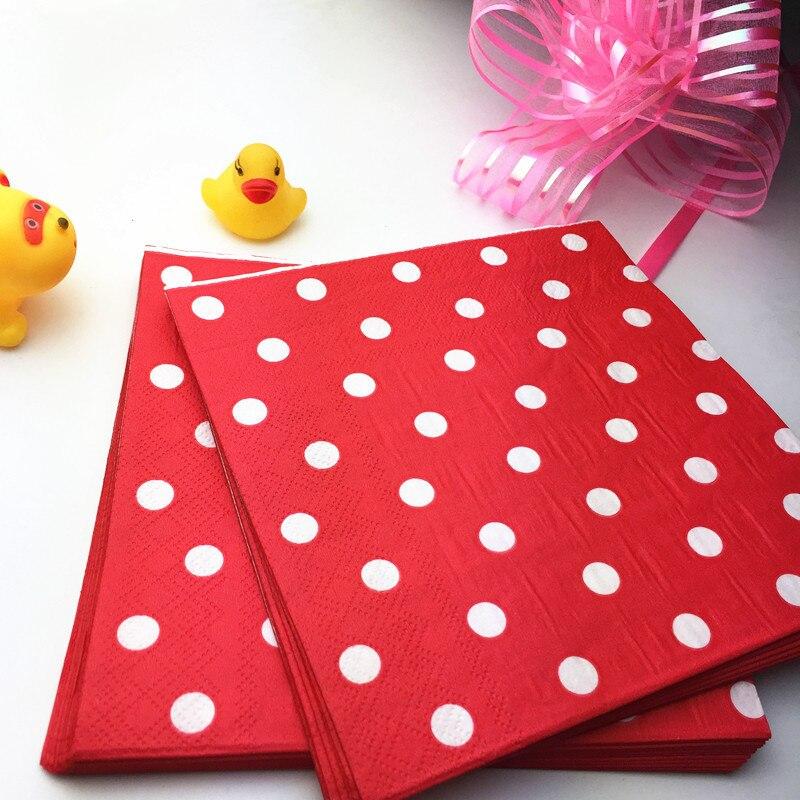 20Pcs//Set 33cm Paper Napkins Polka Dot Tableware Party Decorations