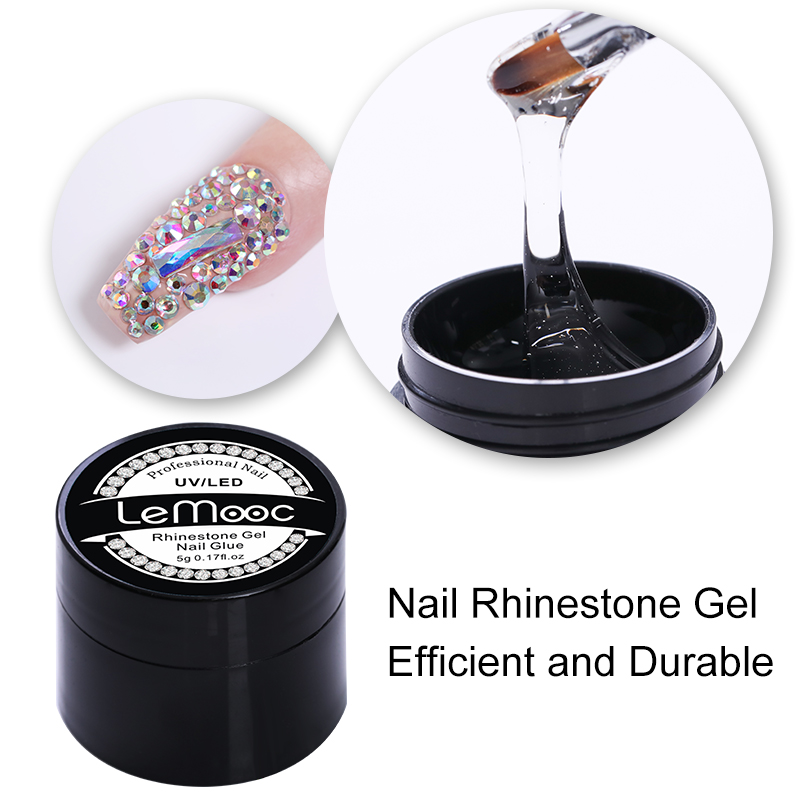 LEMOOC 5g Soak Off Nail Rhinestone Gel UV Gel Nail Polish Adhesive Clear Nail Glue Nail Gel Varnish Tools Manicure Design
