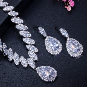 Image 4 - CWWZircons circonita cúbica de gota de agua nigeriana, cristales rojos, conjuntos de joyería para regalo de boda, para damas de honor, T110