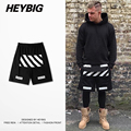OFF WHITE diagonals Printed Shorts men Skateboard Bottoms Knee-length Chinese SIZE HEYBIG youth Streetwear
