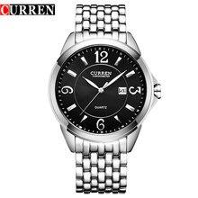 2016 CURREN Lujo de la Marca Completa de Acero Inoxidable Pantalla Analógica Fecha hombres de Negocios Reloj de Cuarzo Reloj de Los Hombres 8071