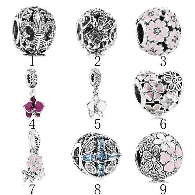 5fed2f654 925 Silver Nature Beads Fit Pandora Bracelet Bangle Patterns Of Frost Charm  Primrose Meadow Poetic Blooms Orchid Dangle DIY
