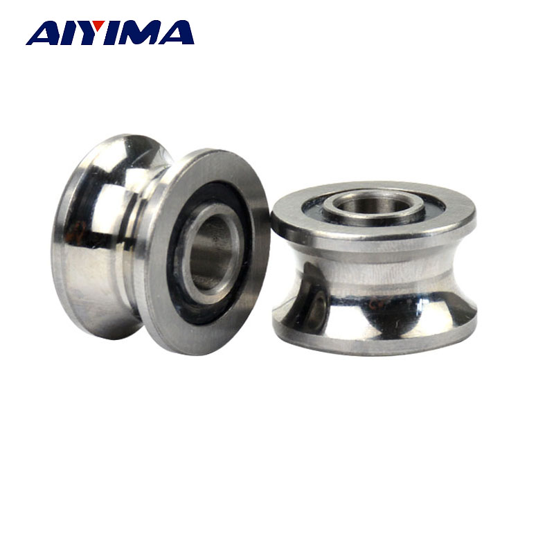 AIYIMA 2pcs U Groove Ball Bearing Guide Track Roller Bearings U22 8*22.5*14.5*13.5mm lfr5206 20 npp groove track roller bearings lfr5206 size 25 72 25 8mm
