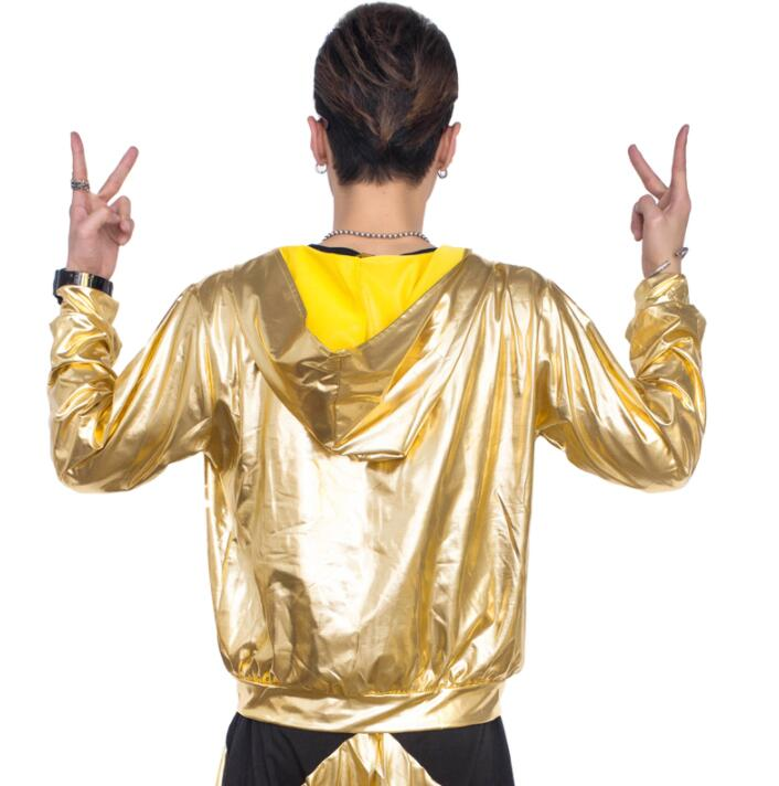 Hip hop Shining group Jazz Street Hooded coat mens stage costumes for singers jacket men clothes dance star style dress gold in Jackets from Men 39 s Clothing