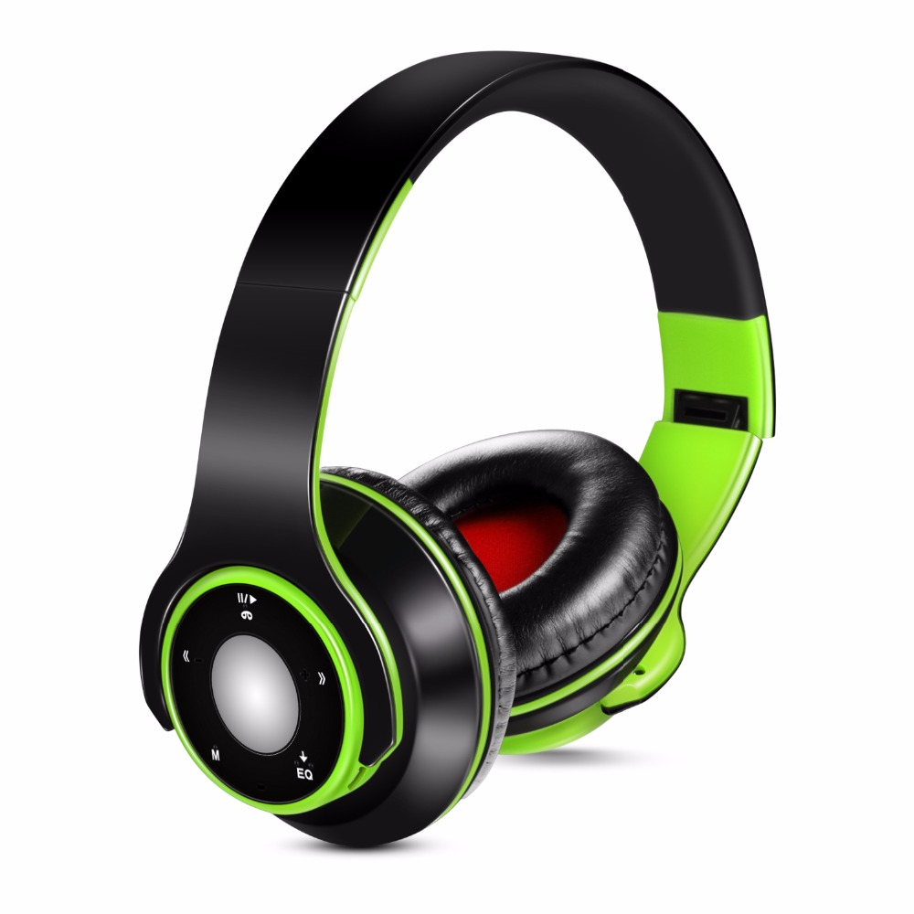 Foldable Colorful Wireless Stereo Bluetooth Over-Ear Headphones with Microphone and TF card play for Kids Children Women Men