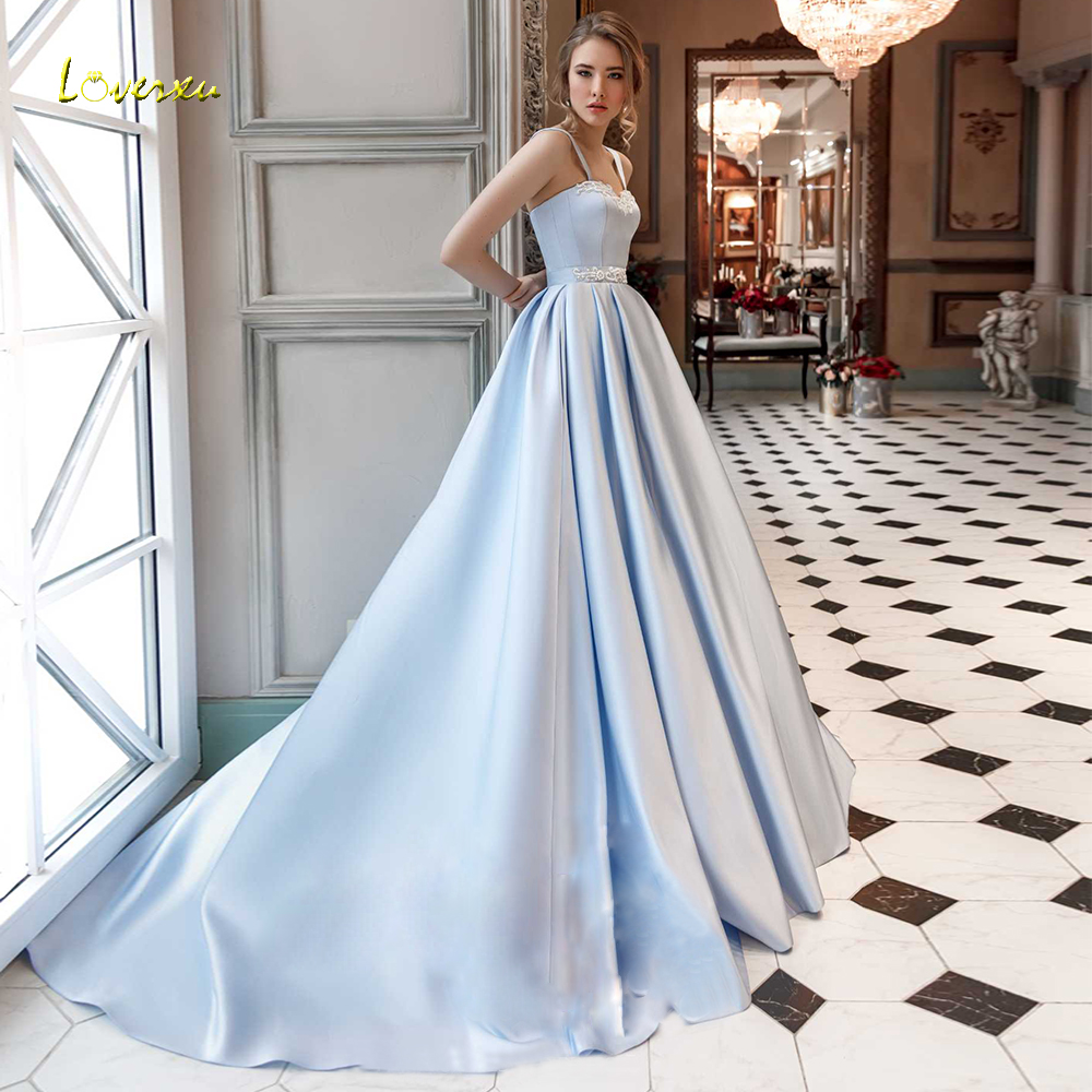 Loverxu Sweetheart A Line Wedding Dress 2019 Applique Tank Sleeve Lace Up Bride Dresses Court Train Satin Bridal Gowns Plus Size