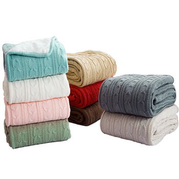 Europe Style Soft Throw Yarn Knitted Blanket Solid Portable Reversible Sofa Bed Plane Chair Couch Blanket Imitated Wool Blanket