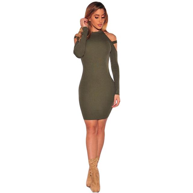 Strappy Cold Shoulder Bodycon Mini Dress