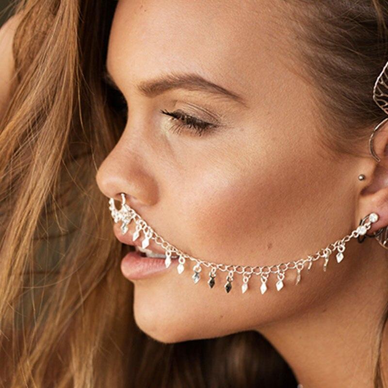 Fashion Earrings Jewelry Accessories Punk Earrings Gold Silver Rhombus Tassel Earring Nasal Splint Jewellery Funny Earring