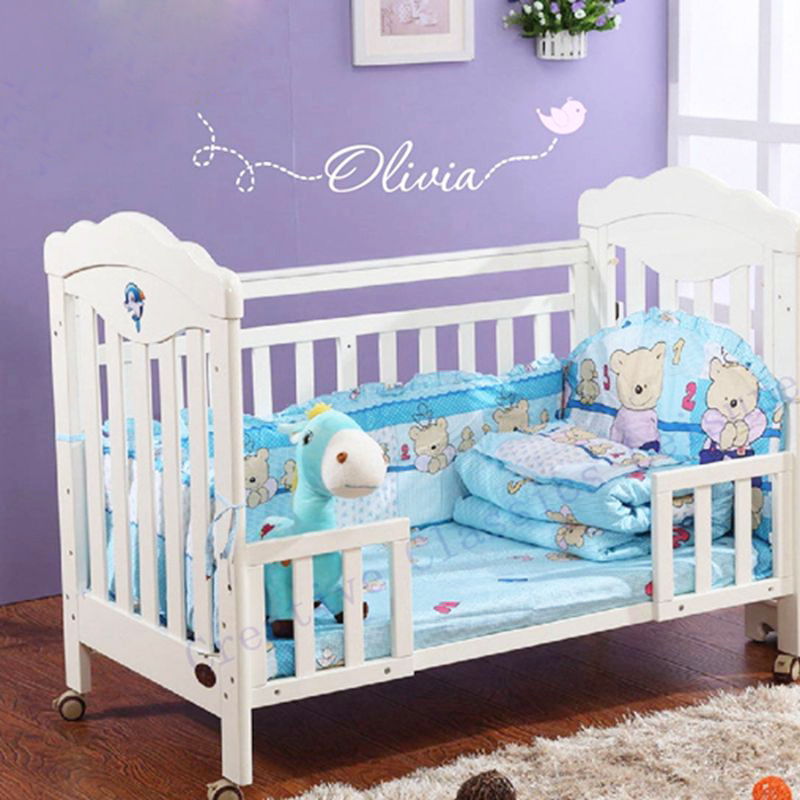 Us 8 1 6 Off Free Shipping Personalized Name Nursery Wall Decals Custom Made With A Flying Bird Vinyl Stickers For Baby In