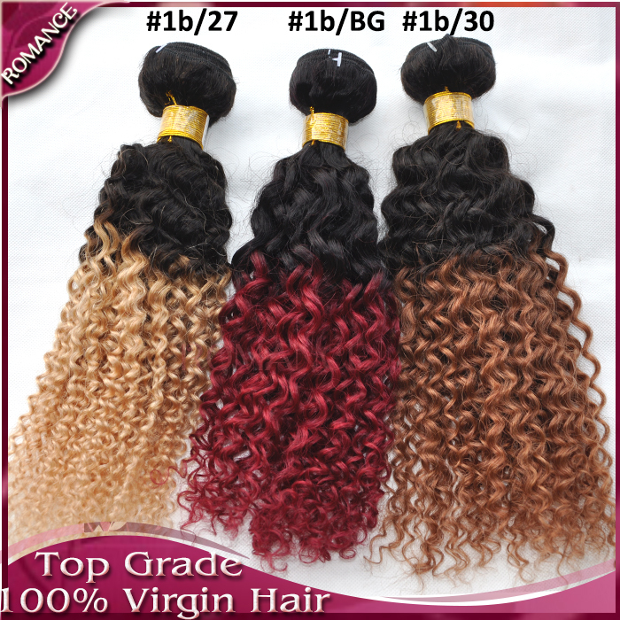 Romance Ombre Brazilian Hair Extensions #30 #27 #Burgundy Brazilian Curly 3 Bundles Lot Ombre Brazilian Curly Kinky Curly Hair фото