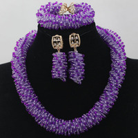 New Lilac Purple Seed Bead African Jewelry Sets Wedding Jewellery Accessories New Chunky Jewelry Set Free Shipping WD231