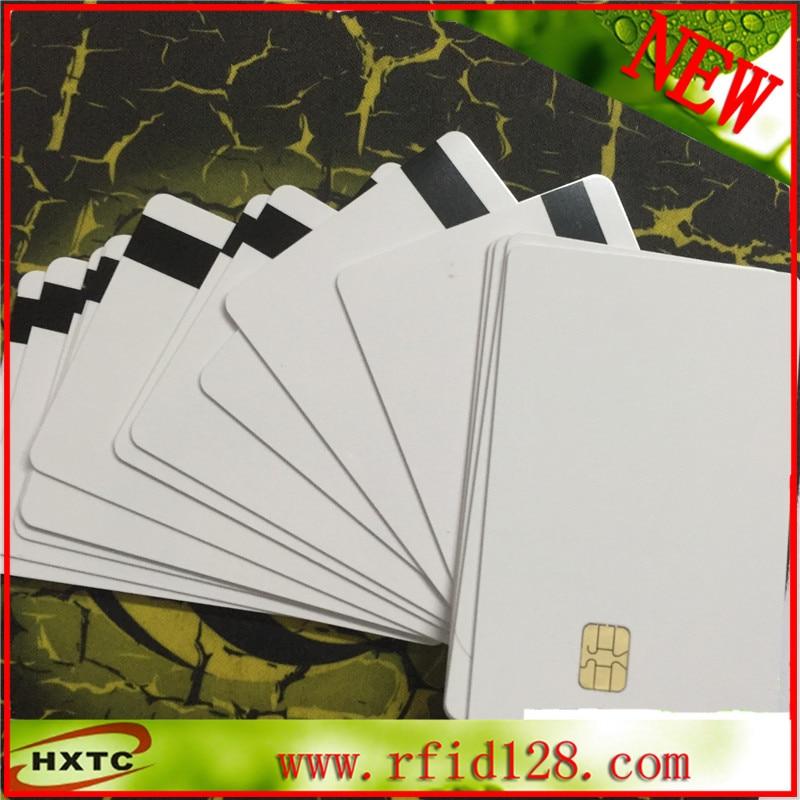 ISO7816 CR80 Standard 2 in 1 SLE4442& Hi-Co Track 1 Track 2 8.4mm Magnetic Stripe Smart chip PVC Card (50PCS/Lot)