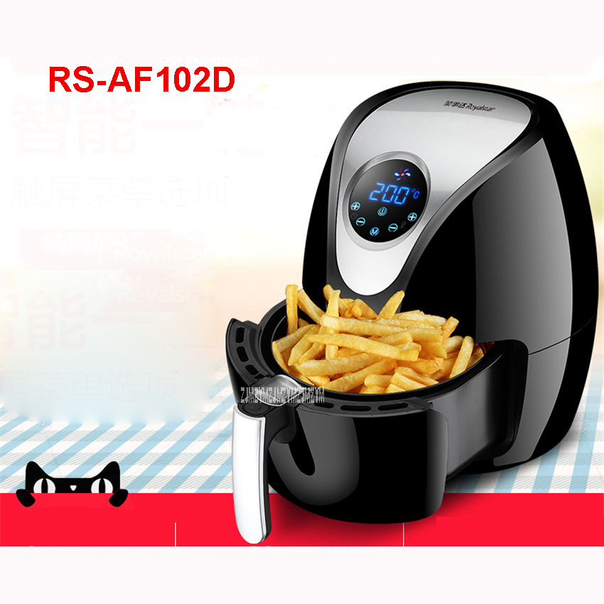 RS-AF102D Household Smokeless Air Electric Fryer 2.6L Large Capacity Without Oil Electric Deep Fryer French Fries Machine 1270W 2 6l air fryer without large capacity electric frying pan frying pan machine fries chicken wings intelligent deep electric fryer