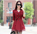 Women Trench Coat 2016 Korean Plus Size Lace Slim Double-Breasted Trench Coats  Outwear Clothing 7 colors   XD039