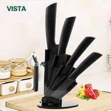 """Кухонные ножи, набор керамических ножей """" для очистки овощей 4"""", универсальный нож """" для нарезки 6"""", нож шеф-повара+ держатель+ Овощечистка, черное лезвие"""