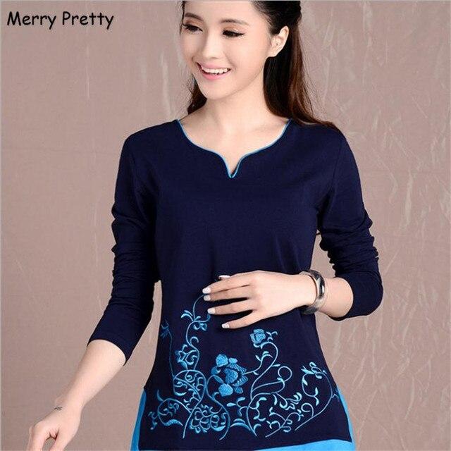 Feliz Bonito novas mulheres blusas camisas de manga longa com decote em v bordado floral tops de algodão do vintage blusa feminina plus size 4XL topo