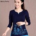 Feliz Pretty nuevas blusas de las mujeres camisas de manga larga con cuello en v floral bordado algodón tops vintage blusa mujer plus tamaño 4XL superior