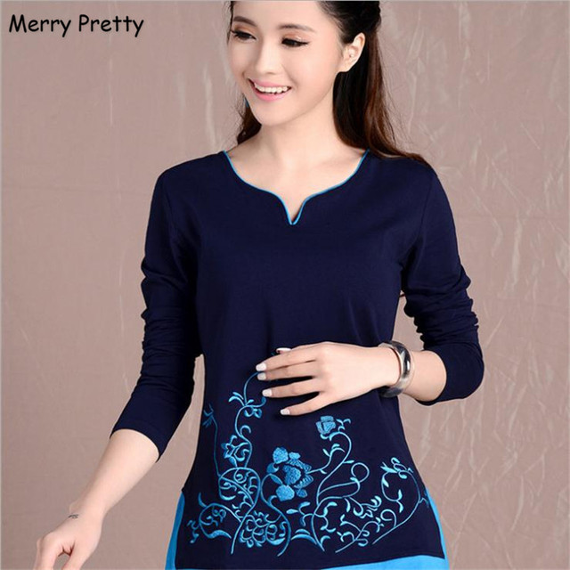 761f1b86de Merry Pretty new women blouses shirts long sleeve v-neck floral embroidery  cotton tops vintage