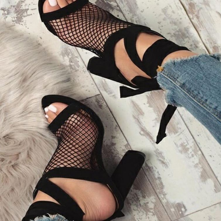 2018 Women Sandals Mesh Sexy Pumps High Heel Open Toe Ankle Strap Female Party Wedding Sandals Women Shoes Lace Up