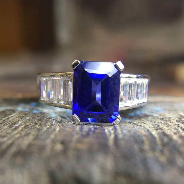 14K White Gold 3ct Emerald Cut 7x9mm Lab Created Sapphire Engagement With 1ctw white Moissanite Ring Free shipping