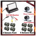 "4.3"" TFT Color LCD Car Backup Parking Car Monitor + Rear & Front Camera car For Parking sensors 8 parking Assist system"