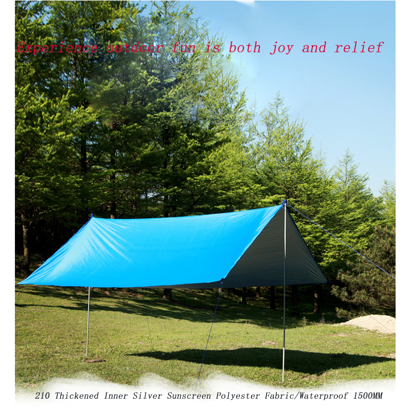 Image 5 - Ultralight Tarp Outdoor Camping Survival Sun Shelter Shade Awning Silver Coating Pergola Waterproof Beach Tent-in Tents from Sports & Entertainment