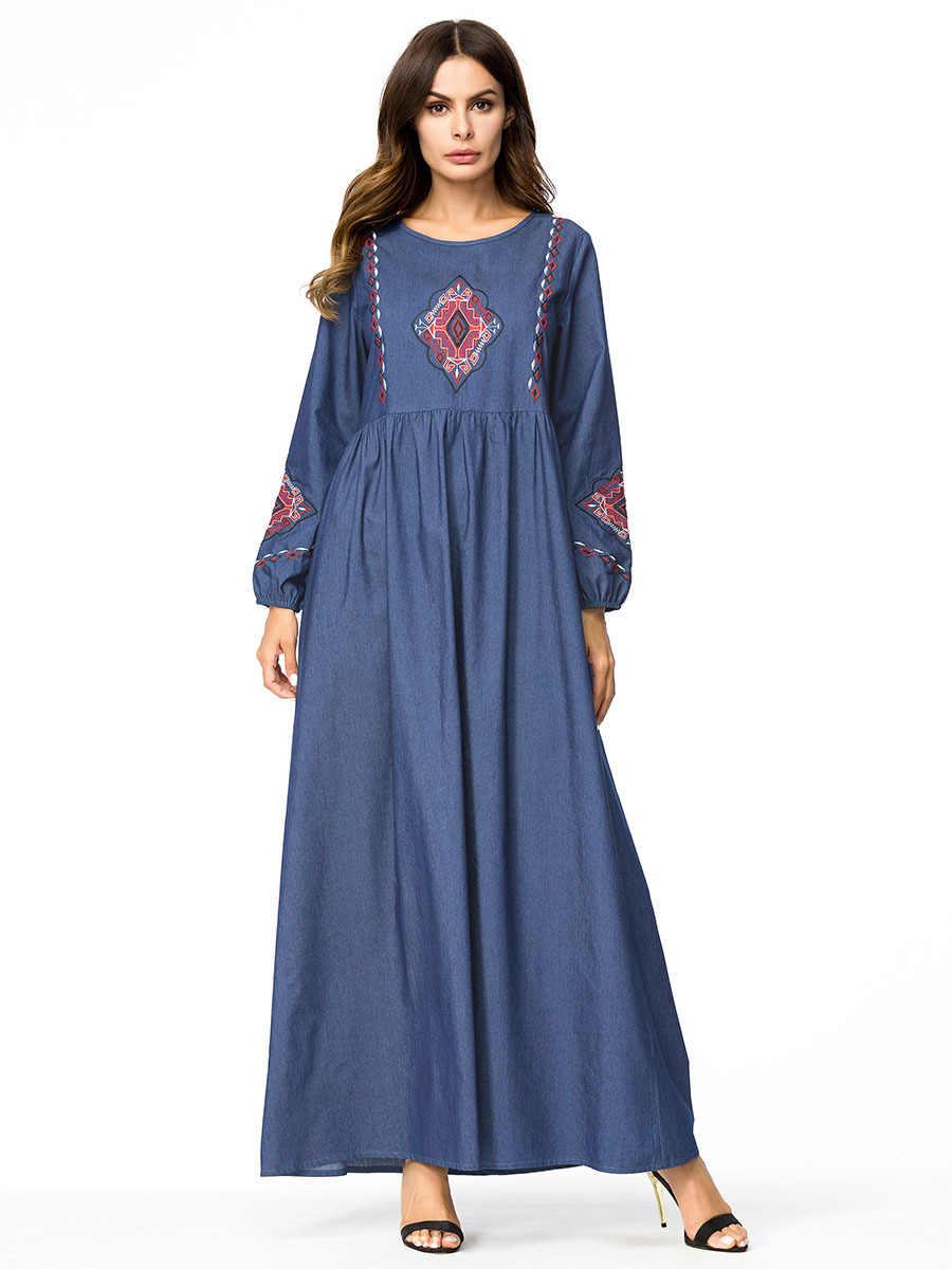 Абая для женщин Вышивка Длинные платья Синий Макси мусульманское джинсовое платье Арабская мусульманская одежда для Дубай одежда дамы плюс размер Модный Халат