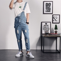 Free Shipping New Brand Summer Casual Ripped Hole Blue Men Solid Color Denim Jumpsuits Overalls