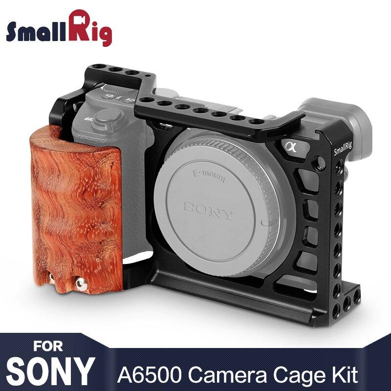 SmallRig 6500 cage caméra Kit pour Sony A6500 Caméra Avec Manche En Bois Forme de Poignée montage A6500 cage Stabilisateur 2097