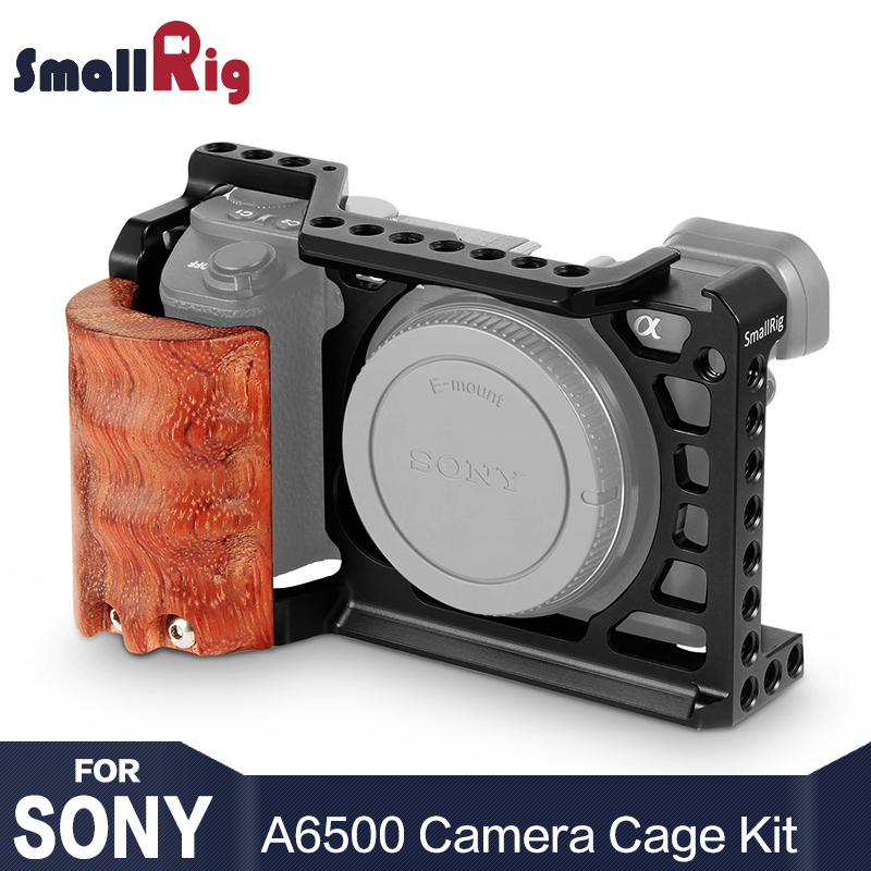 SmallRig 6500 Cámara Cage Kit para Sony A6500 cámara con mango de madera de agarre FORMA DE A6500 jaula estabilizador 2097
