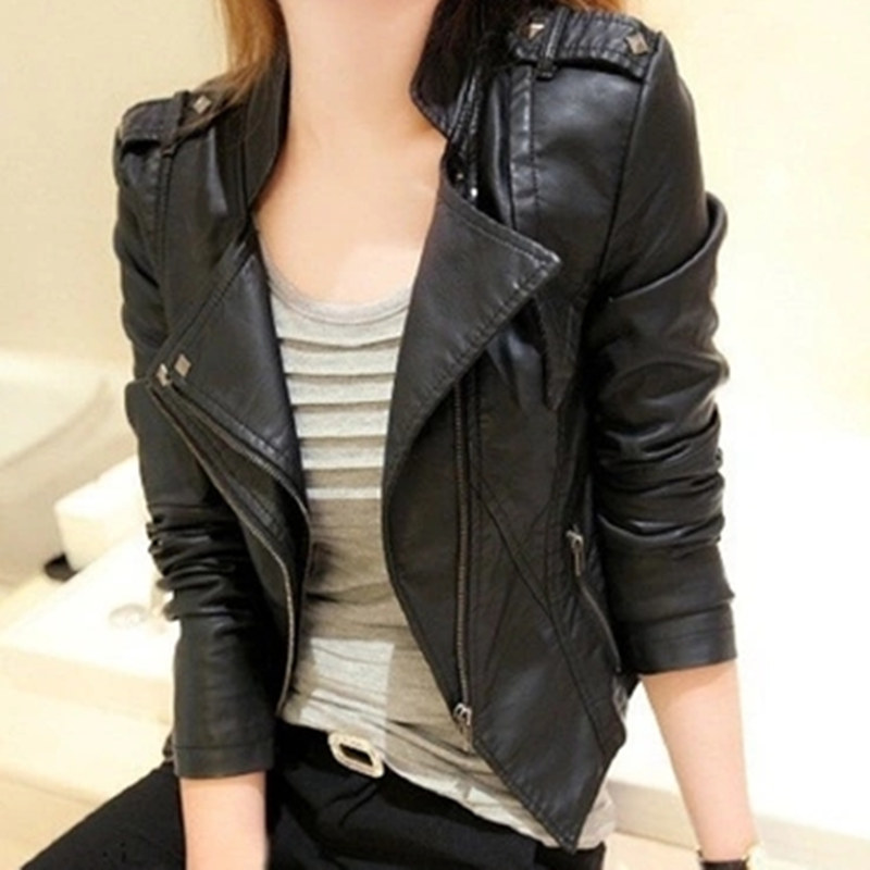 Sexy women leather Jacket Coat Slim Short Paragraph diagonal Zipper outerwear coats new 2017 autumn motorcycle jacket MZ701