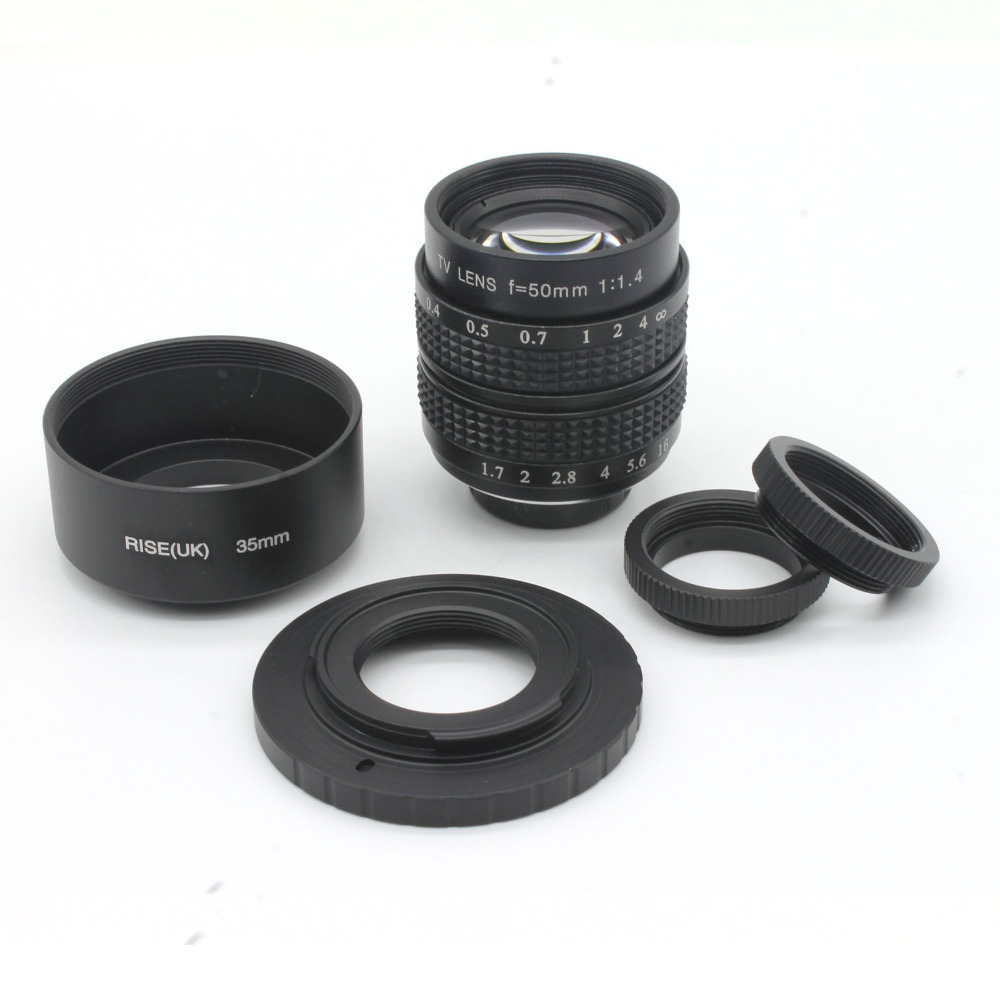 BLACK 50mm f1.4 C Mount Lens+ Macro Ring+ C to N1 Adapter+ hood FOR NIKON1 EM5 GF5 GX1 GH3 Free shipping