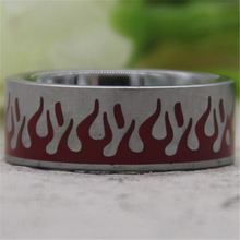 Free Shipping Hot Sales 8MM Comfort Fit Carved Flames With Red Resin Design Silver Pipe Mens Fashion Tungsten Wedding Ring