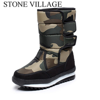 New Winter Outdoor Men Boots Tube Warm Thick Waterproof Non Slip Padded Men Shoes Camouflage Snow