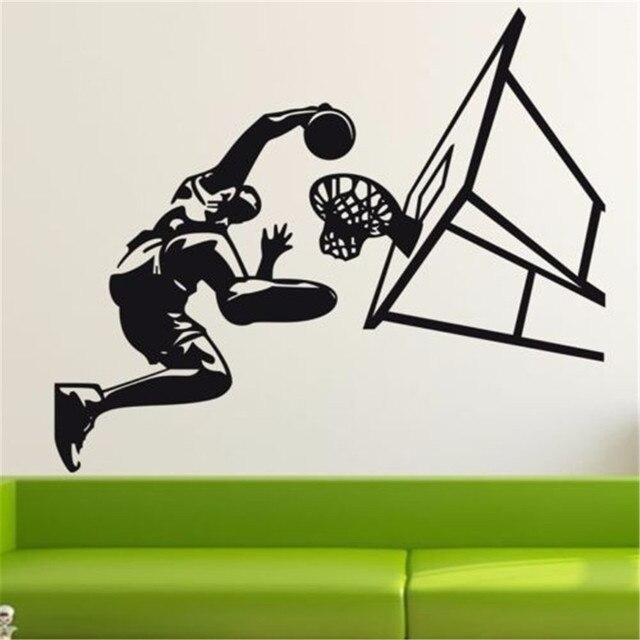 Garçon Basket Ball Shoot Stickers Muraux Mural Sport Physique