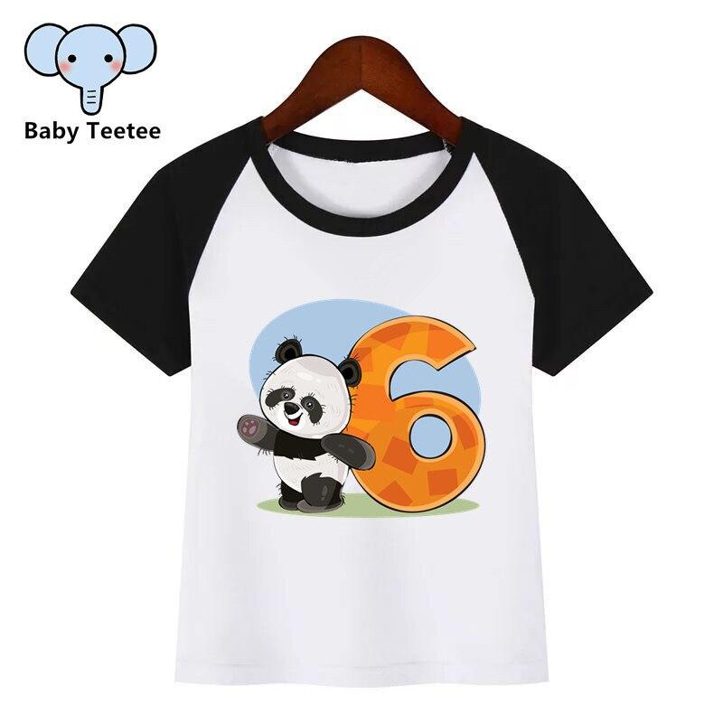 Birthday Panda Numbers 1-9 Print T Shirt Funny Clothes Children T-shirt Kids Fashion Clothing Cartoon