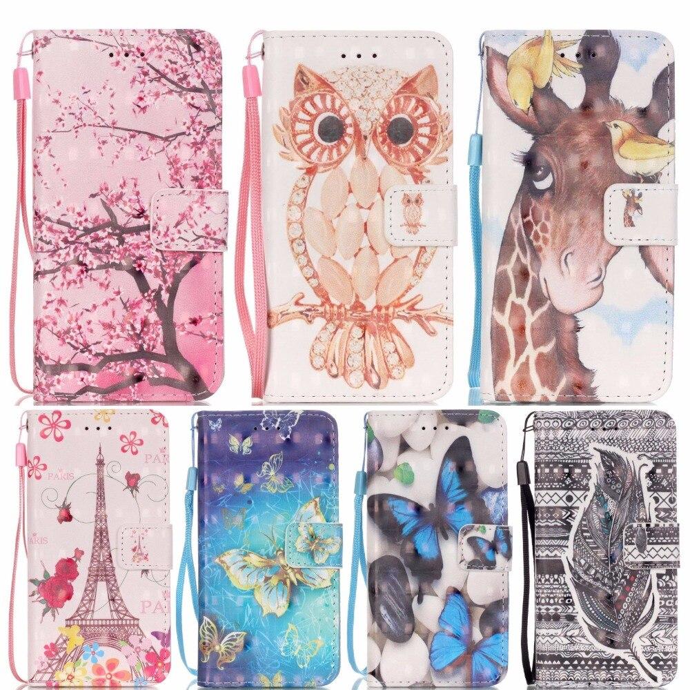3D Painted Deer Owl Tower Butterfly Pattern PU Leather Case For LG K5 5 Cover For LG K5 LTE X220 X220G X220DS Fundas B21