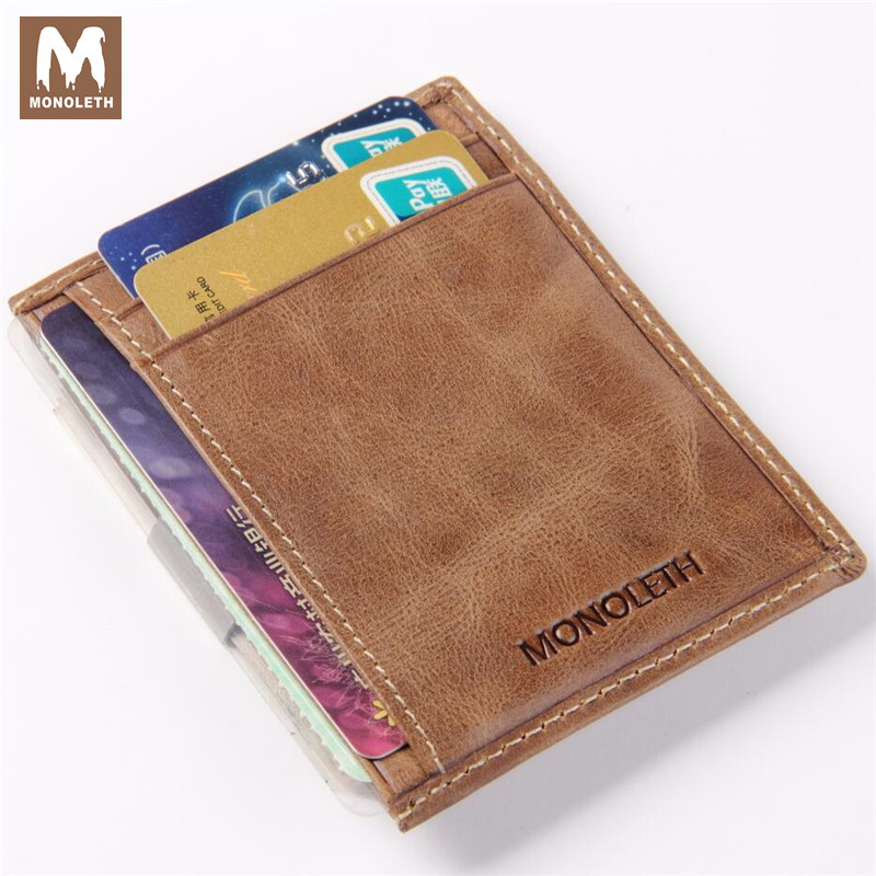 MONOLETH Genuine leather Money Clip High Quality Mental Clip Safe Wallet Vintage Money Wallet Ultra Thin
