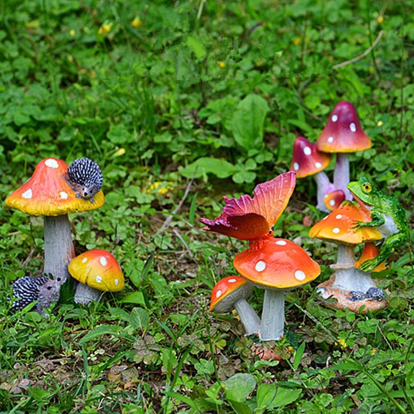 1pc 5 8cm High Resin Mushroom Figurines Garden Decoration Outdoor