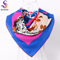 [BYSIFA] Blue Flowers Square Scarves Wraps Hot Sale Muslim Head Scarf Shawl For Ladies Spring Autumn Women Twill Silk Scarf Cape