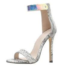 f72ea7624 NOVA KLV sapatas das mulheres sandálias de salto alto Padrão Cobra Sapatos  Única Cor de Plástico Transparente Sandálias De Salto.