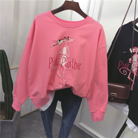 new top quality Cute Hoodies Women Pink Panther Sequin Cartoon printing stitching Hoodies Sweatshirt 0202