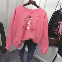 new top quality Cute Hoodies Women Pink Panther Sequin Cartoon printing stitching Hoodies Sweatshirt 0202