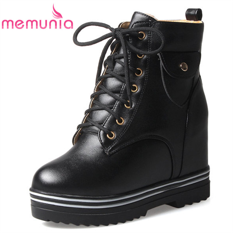MEMUNIA 2018 new ankle boots platform boots winter fashion Heat shoe round toe extreme high heels women boots big size 34-43 big size 34 42 high quality genuine leather leisure low heels ankle boots fashion cowhide round toe platform women boots