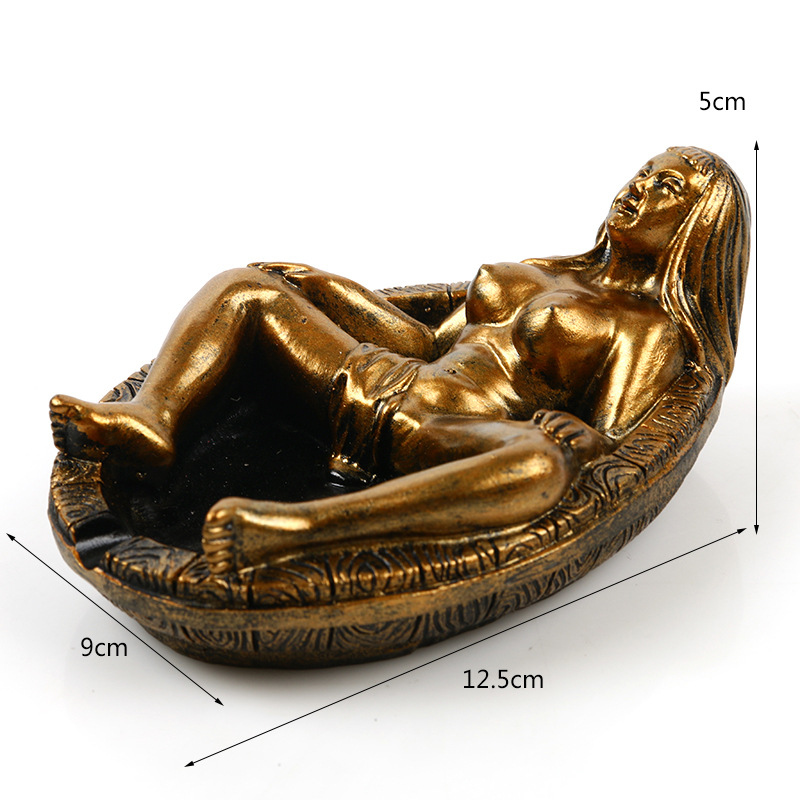 Resin Ashtray Personalized Gift Home Decoration Resin Skull WOMAN Beauty Retro GOLDEN COLOR Ashtray